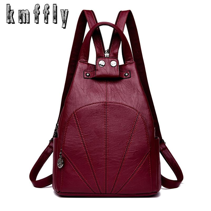 28759f739ab2 2019 Fashion 2018 New Style Women Backpacks Women PU Leather Backpacks  Female School Shoulder Bags For Teenage Girls Travel Back Pack Sac  Waterproof ...