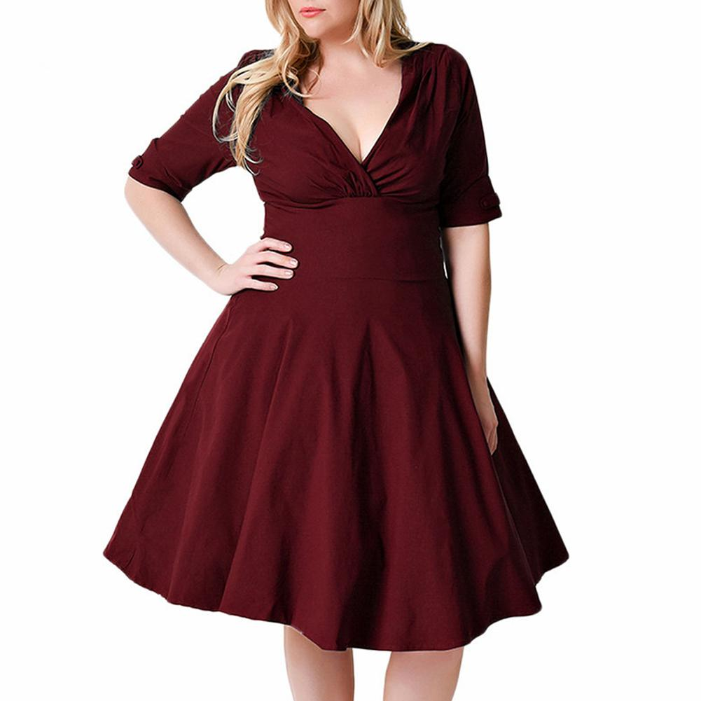 4dab3e8ae6d0 Sexy Women 9XL Plus Size Dress V Neck Half Sleeve Solid Slim A Line Dress  Ruched Elegant Party Skater Dress Large Size Vestidos Black Sundresses Cute  Party ...