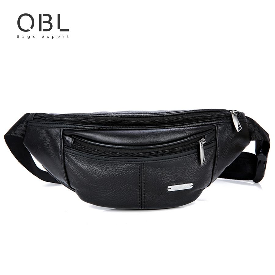 13b8d47bb12a QiBoLu Cow Genuine Leather Waist Pack Fanny Pack Bum Belt Bag Men Pouch  Pochetes Bolso Cintura Marsupio Uomo Banane Sac MBA62