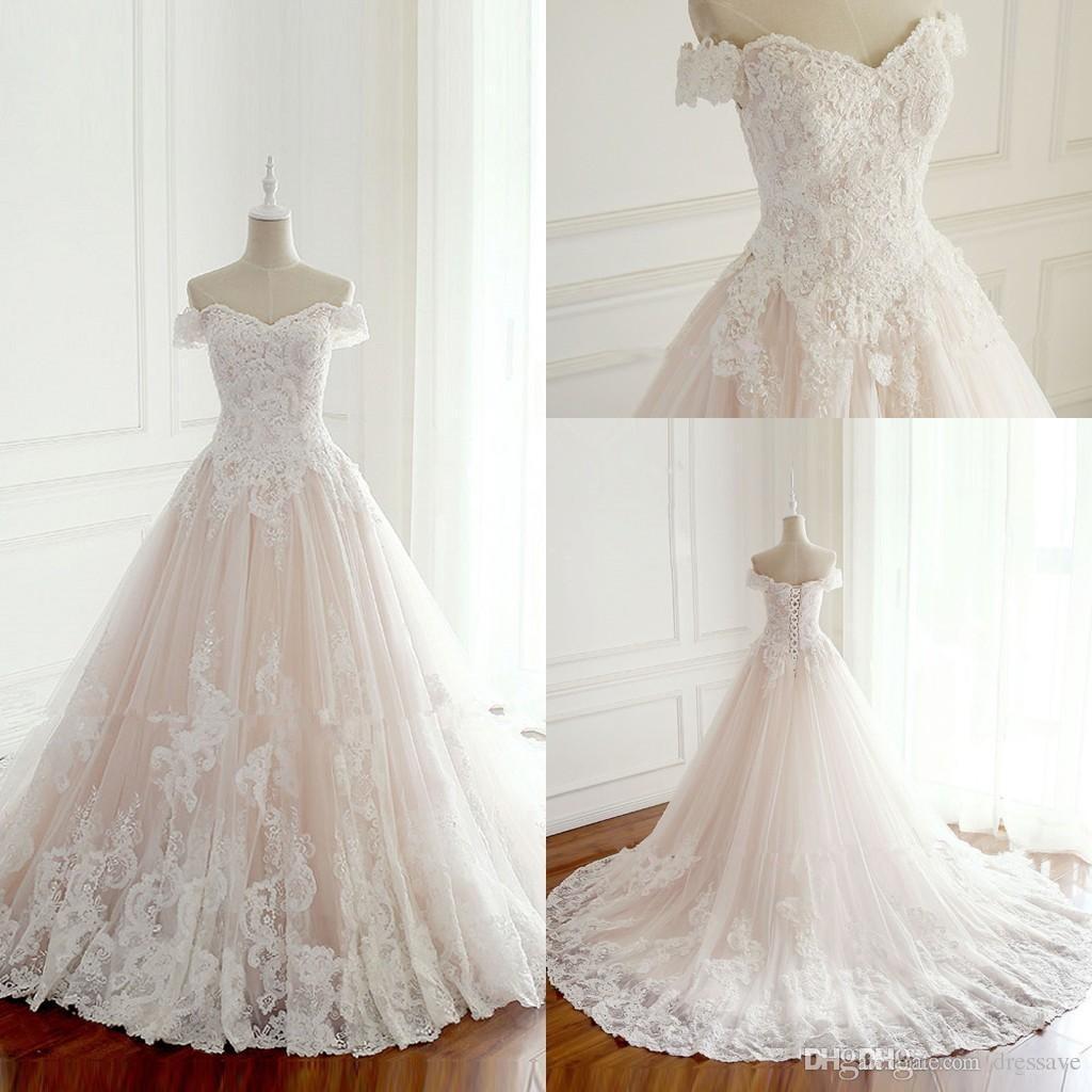 2019 Robes De Mariée Princesse Turquie Appliques Blanches Rose à L Intérieur Des Robes De Mariée élégantes à Lacets Corset Plus La Taille