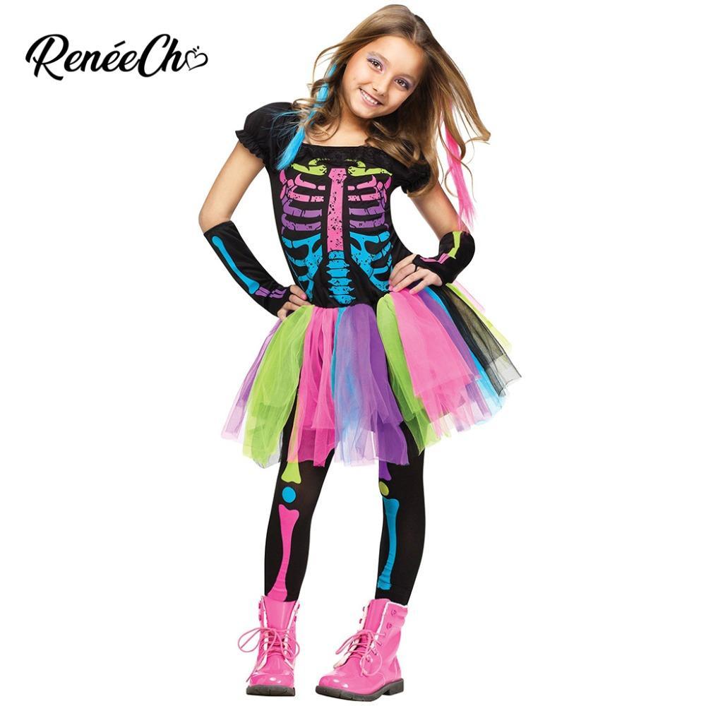 Acquista Costume Di Halloween Bambini Ragazze Funky Punky Bones Costume  Bambino 2018 Skeleton Rocker Cosplay Tutu Dress Fancy Dress A  32.13 Dal  Hoeasy ... e24034b999f