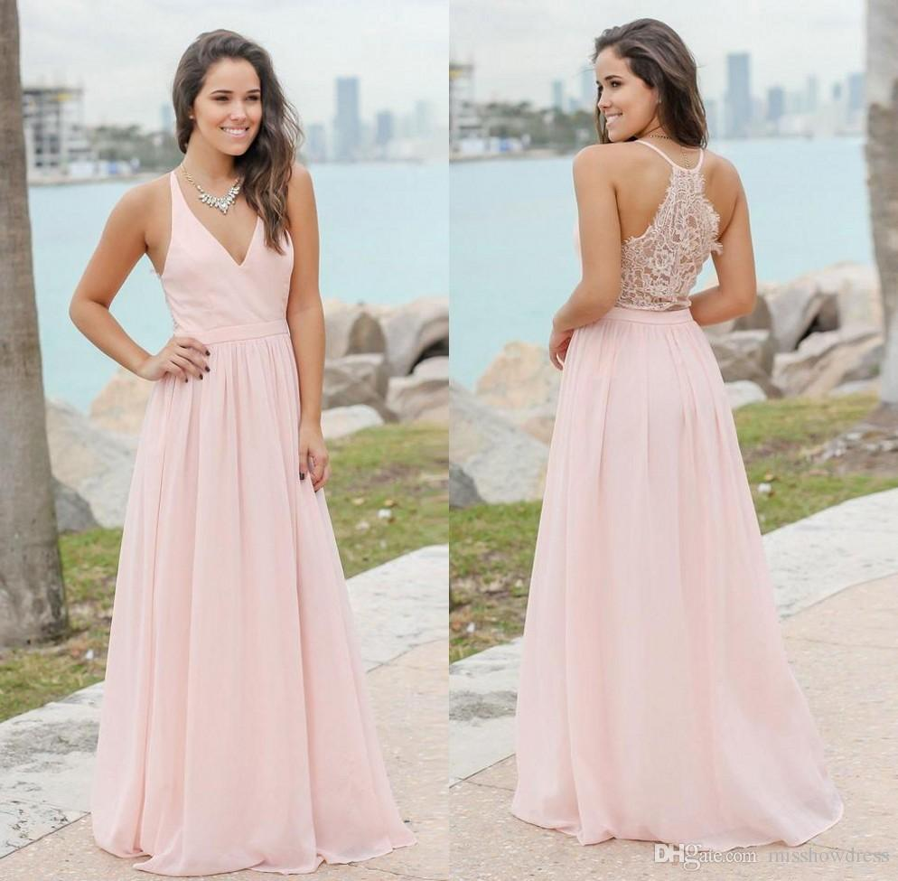 081e0203b0f 2019 Sexy V Neck Chiffon Long Bohemia Bridesmaid Dresses Pink Lace Ruched  Floor Length Maid Of Honor Wedding Guest Dresses BM0152 Lace Gown Long  Sleeve ...