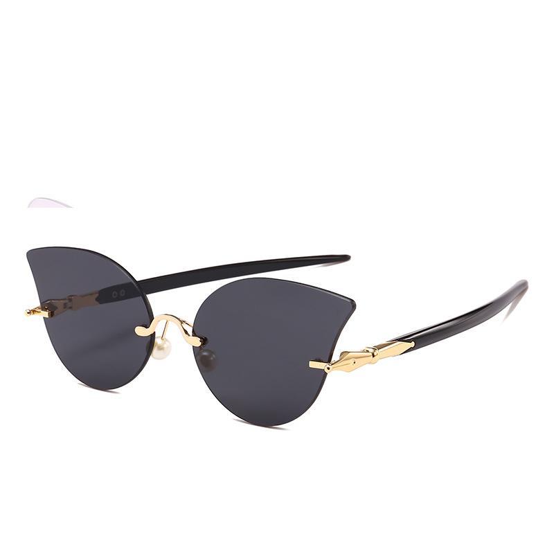 521ea04627 Unique UV400 Women Rimless Cat Eye Sunglasses Brand Designer ...