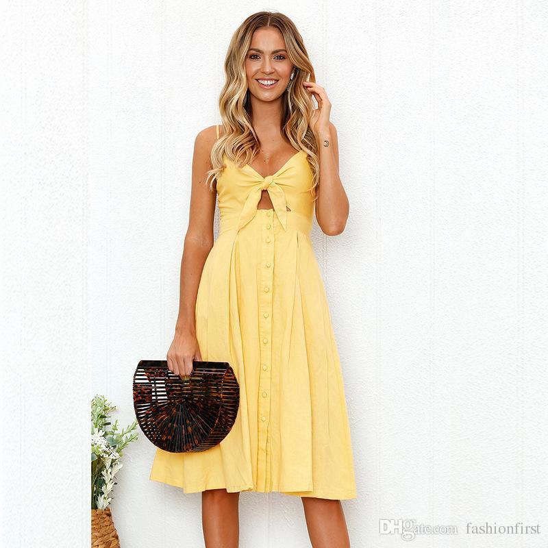 f6ae7c0c0ba4 Cotton Linen Strapless Sun Plaid Dress Buttons Day Summer Boho Women  Clothing Bow Dress Hippie White Yellow Navy Orange Red Designer Evening  Dresses Short ...