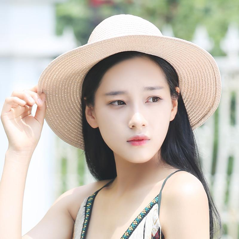 Summer New Straw Hat Wholesale Women s Sunshade Hats Prevent Double Color  Splicing The Same Type Of Single Silk Braid Hats Kids Hats Wide Brim Hat  From ... cc29f1b0f7