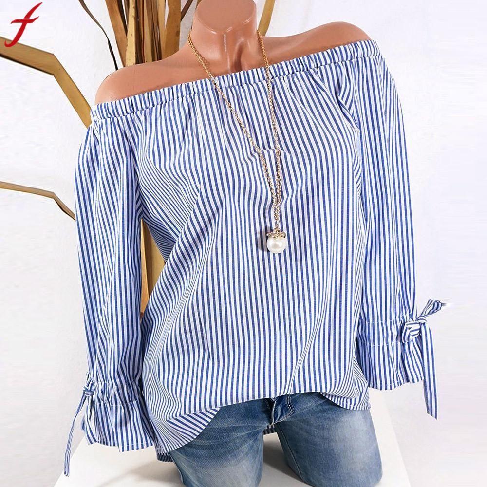 109e4f7e8d0f59 2019 Off Shoulder Shirt Women Long Sleeve Stripe Print Big Size Tunic Tops  2018 Autumn Plus Size Loose Women Blouse Blusa Feminina From Aimea