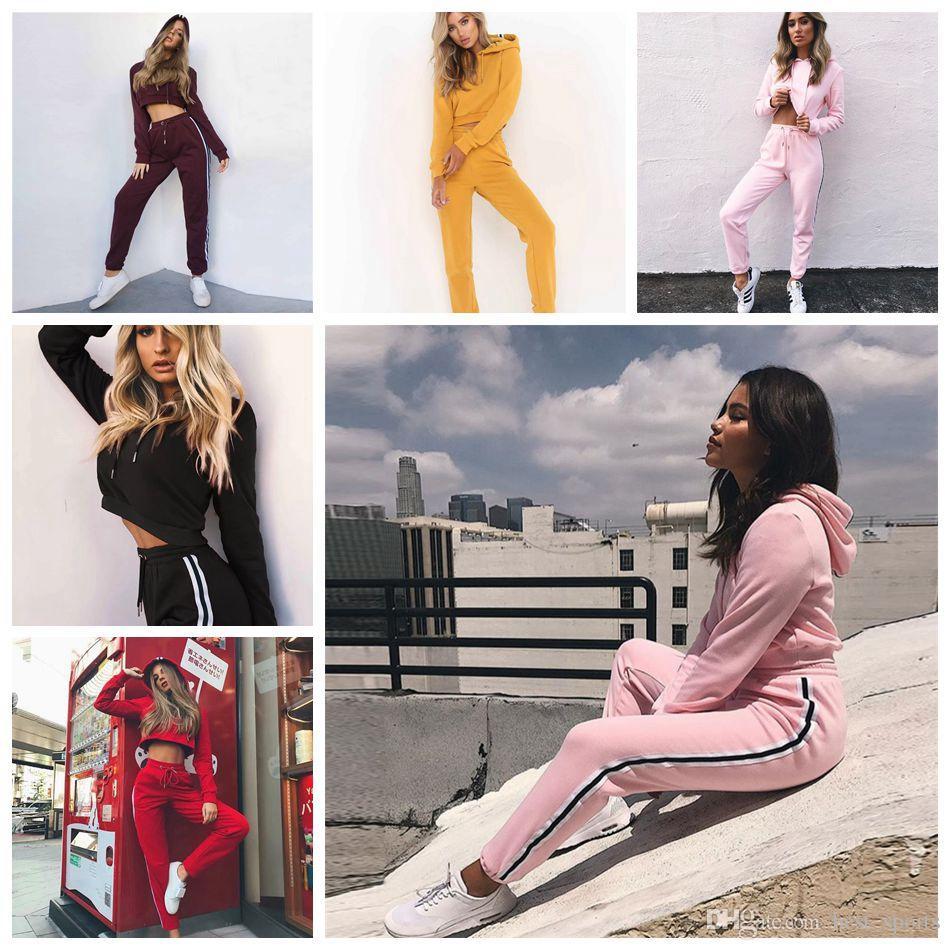 Hosen Sets Casual Herbst Outwear Solide Pullover Anzüge Plus Größe S-xxl 2018 Neue Frauen 3 Stücke Trainingsanzug Lange Mantel Crop Top