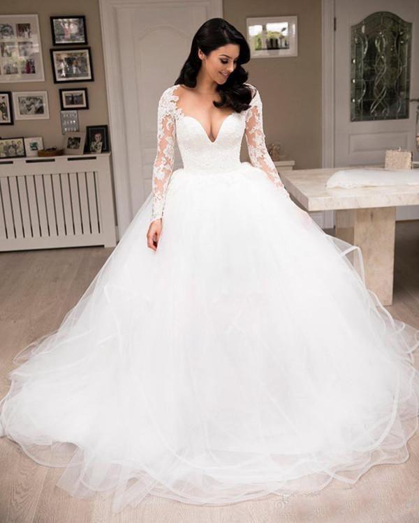 Grosshandel 2018 Vintage Brautkleider Ballkleid V Ausschnitt Langarm