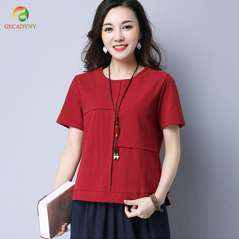dc5852316eb46 Folk-Custom 2018 Women Tops Female Summer Style Casual O Neck Solid Stitch  Female Short Sleeve Cotton Linen T Shirts Women T-Shirts Cheap T-Shirts  Folk ...