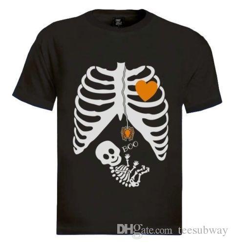 Ducha Del Bebé Halloween Disfraz Muchacho La Los Maternidad Muchacha Esqueleto De Embarazada Camiseta Regalo