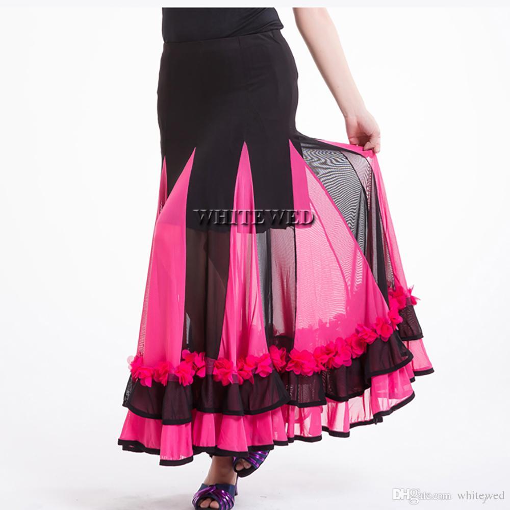 Whitewed Long Flamenco Ballroom Waltz Tango Indian Dance Skirt Costume Long Full Circular Flamenco Ballroom Dance Performance Dancewear