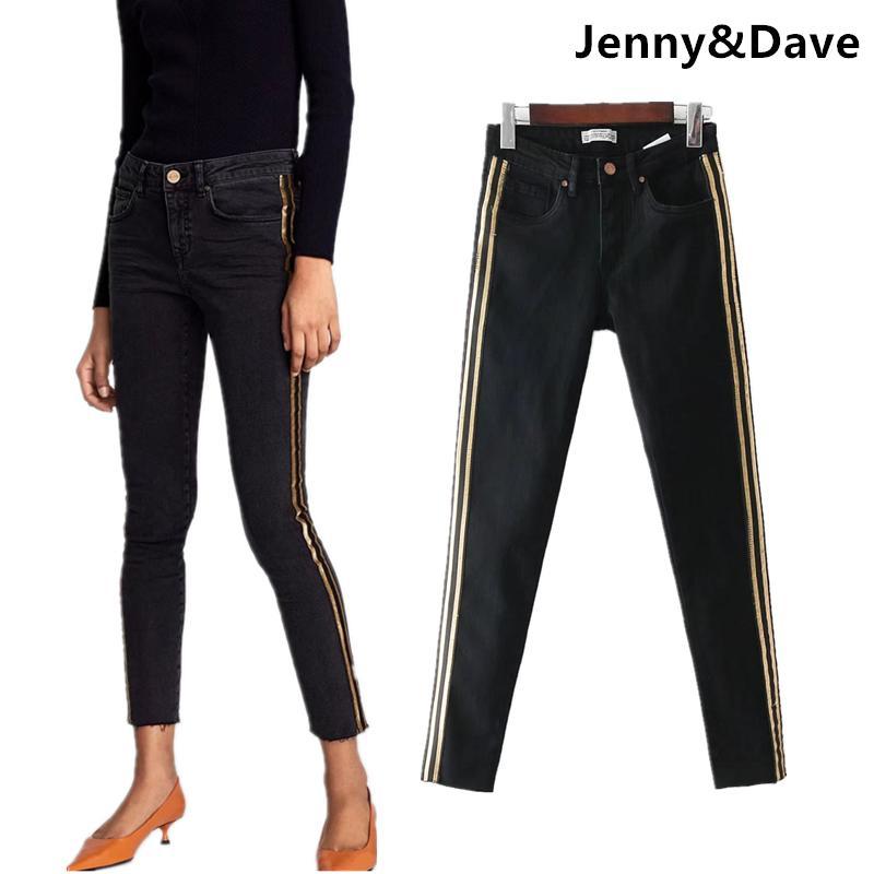 ab57e41cb87 Jenny Dave Jeans Woman High Street Vintage Gold Silk Side Striped Pencil  Jeans Skinny Women Denim Pants Feminino Plus Size Jeans Skinny Women Women  Jeans ...