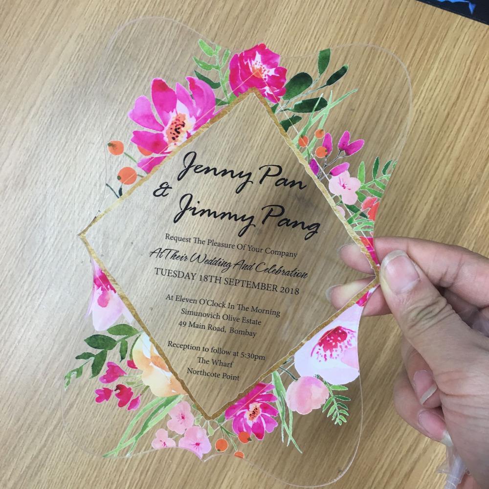 2018 Impression De Fleurs Acrylique Carte D Invitation De Mariage Forme Differente Conception De Cartes De Fiancailles Faveur De Mariage