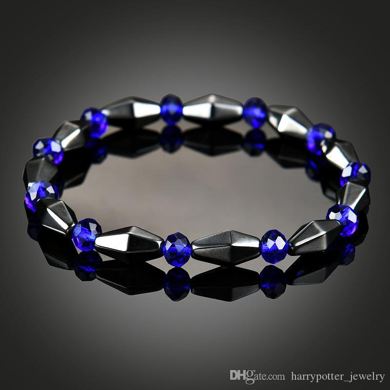 hématite bracelet de pierres précieuses bleu bracelet style ethnique pour les hommes des femmes perles bijoux de mode déclaration maxi bracelets volonté et bateau de baisse de sable