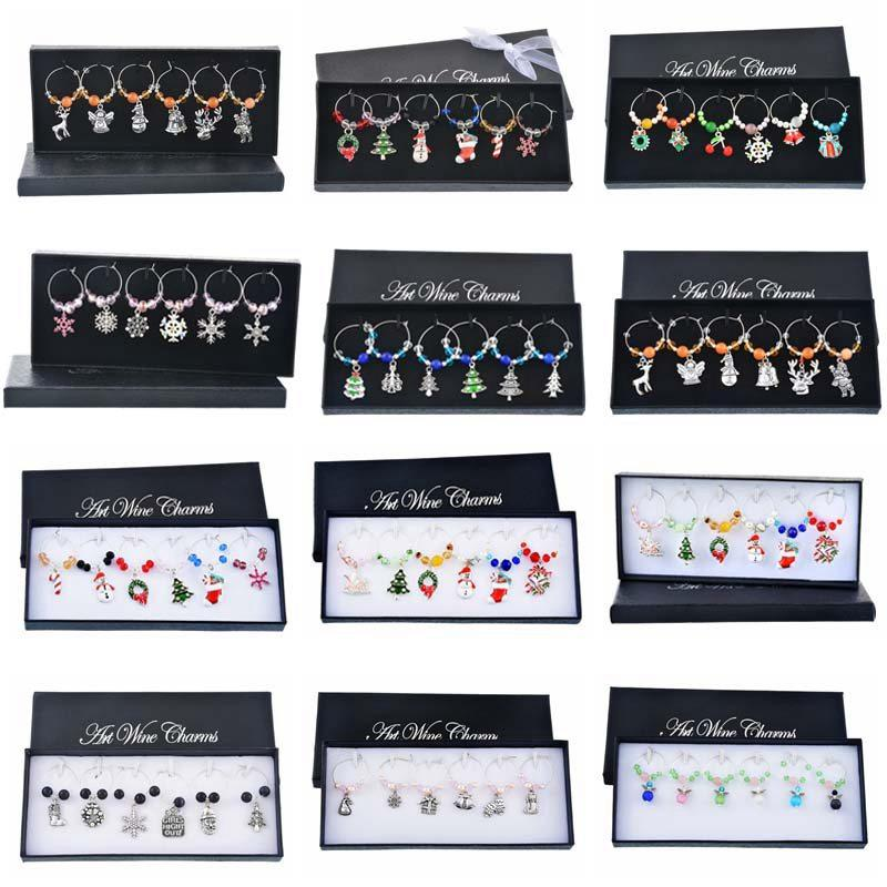 Hoomall 6PCs/Box Mixed Wine Charms Snowman Reindeer snowflake Crystal Wine Marker Enamel Pendant Christmas Table Decorations