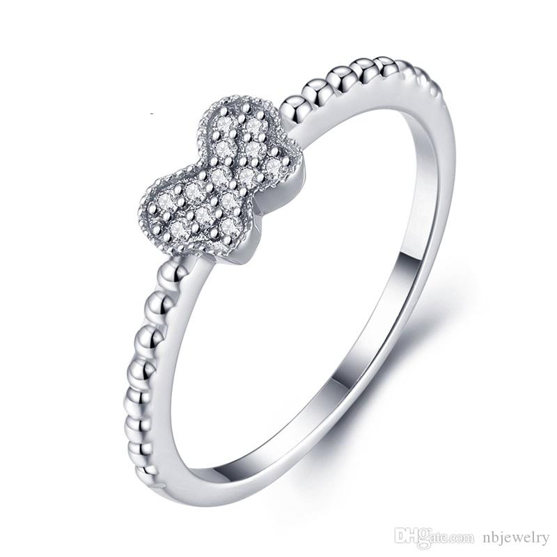 Noble Fashion Diamon Men Women 925 Silver Ring Cute Bow jewelry rings gift birthday Crystal jewelry NBR001