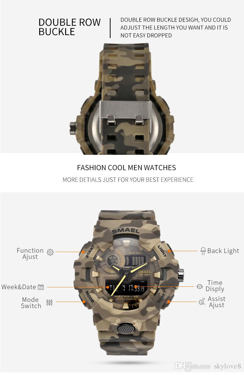 Latest design Smael Camouflage Outdoor Military Sports 50m Waterproof Dual Display Men's Watch Multi-function LED Electronic Watch