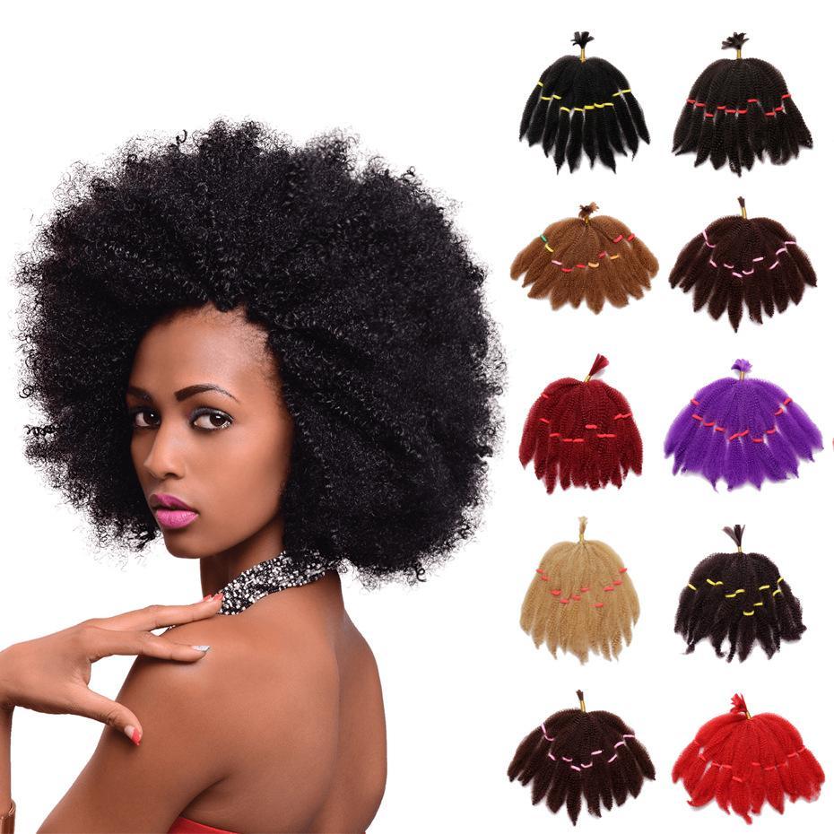 Kurze 10inch Afro Verworrene Lockige Haar Bulks Synthetische Haarverlängerungen 50 Gramm Günstigen Preis Für Schwarze Frauen Twist Haar 2018 Mode