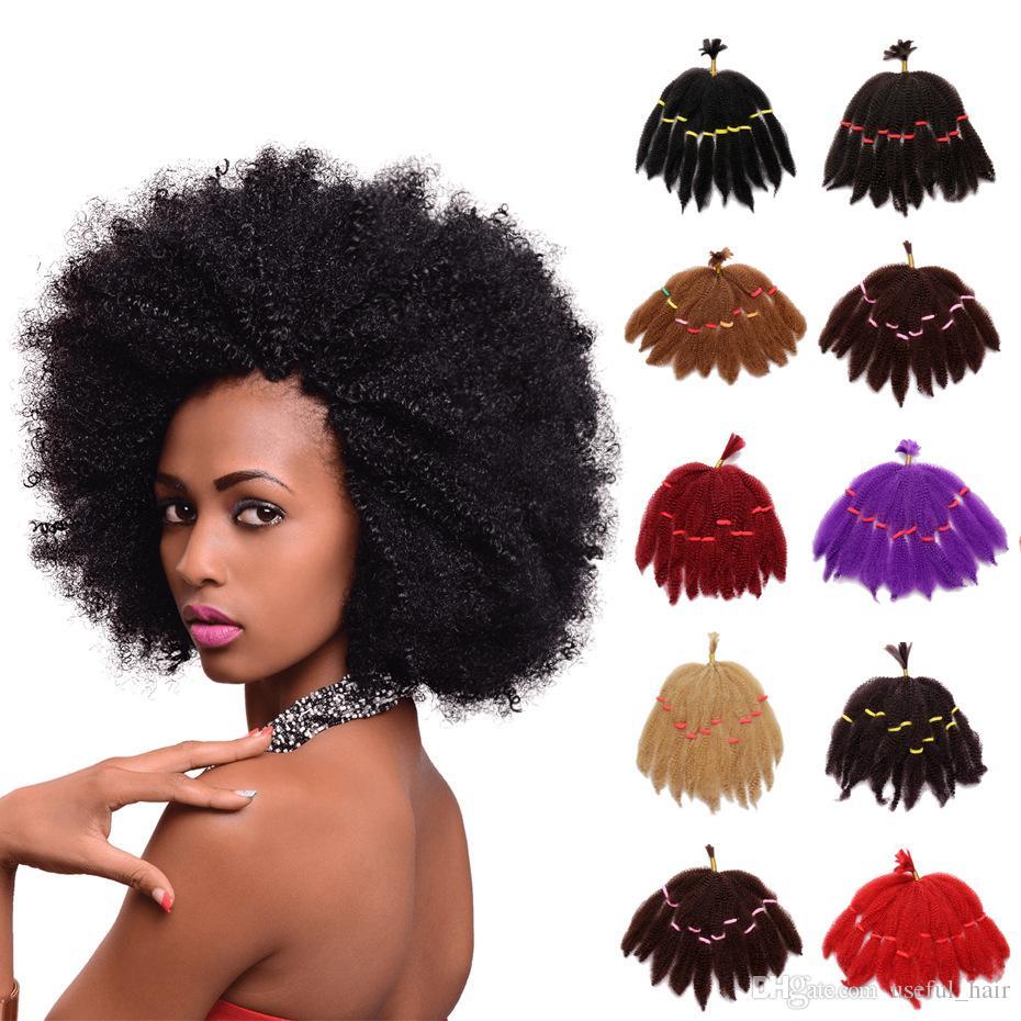 Mongolian Afro Kinky cheveux bouclés faisceaux courts volumes de réduction synthétiques extensions de cheveux synthétiques blonde 10 pouces tressés torsion cheveux pour les femmes noires