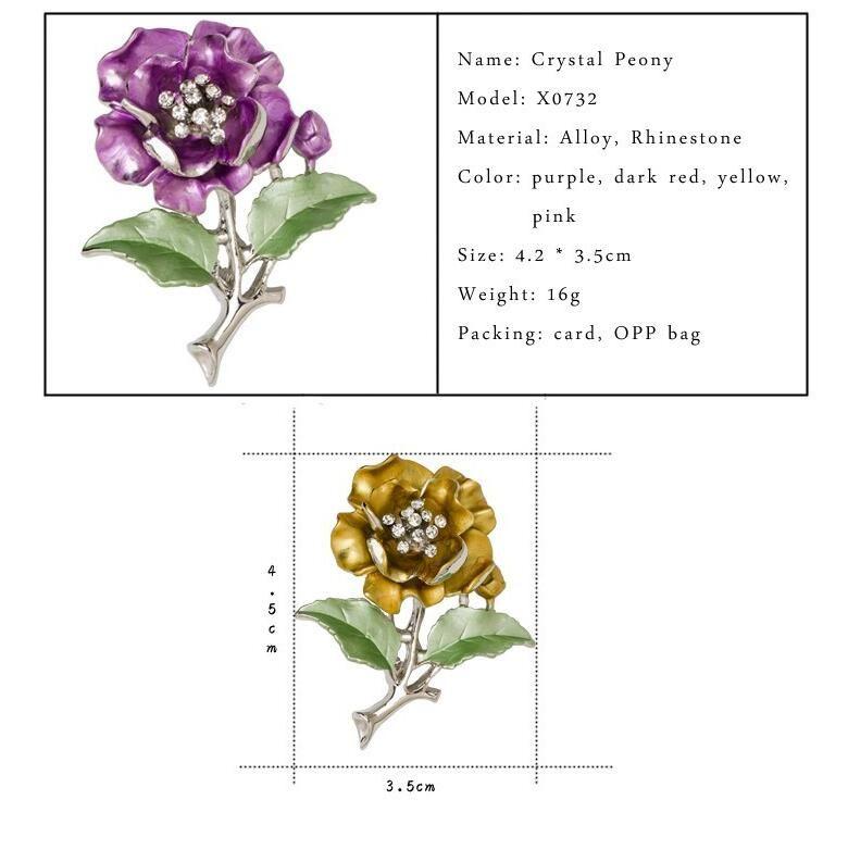 New Cute Ladies Broches Wedding Dress Plant Jewelry Crystal Rhinestone Flower Brooch For Women Broshce Metal Leaf Broches Mujer