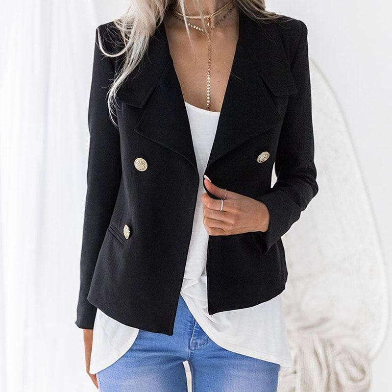 dae639ea13dba 2019 Bigsweety Autumn Blazer Feminino Black Suit Jacket Ladies Blazers Double  Breasted Women Blazer Long Sleeve Slim Short Jacket From Beenni