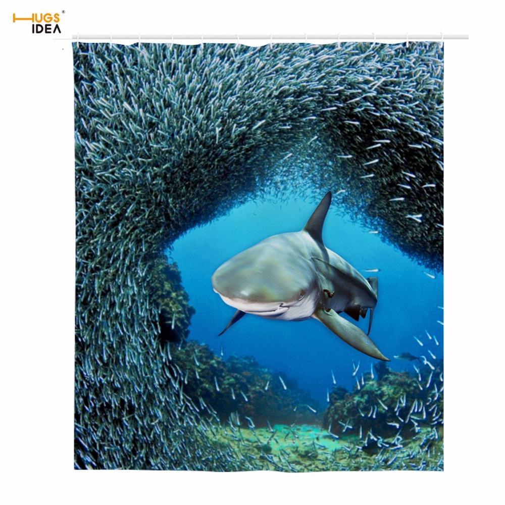 HUGSIDEA Bath Shower Curtains Fantastic Sea Animal Fish Dolphin ...