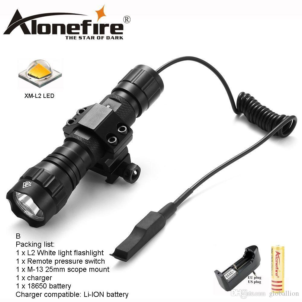 AloneFire 501Bs CREE XM-L2 LED Tactical Flashlight Hunting Lamp Torche zaklamp with Remote Pressure Switch Tactical Mount for 18650 battery