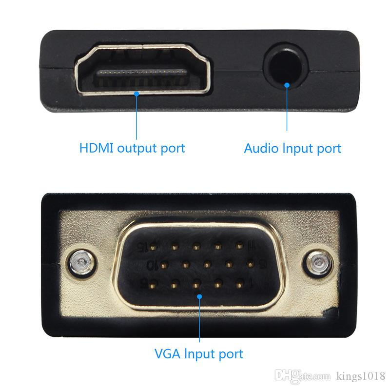 Vga to HDMI Adapter Converter VGA Male to HDMI Female Audio Cable Video Converter 1080P for PC Laptop TV Monitor Projector
