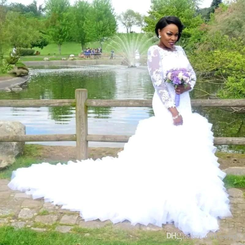 Plus Size African Wedding Dresses Lace Appliques Sheer Long Sleeves Mermaid Puffy Tulle Bridal Gowns Vestidos De Noiva