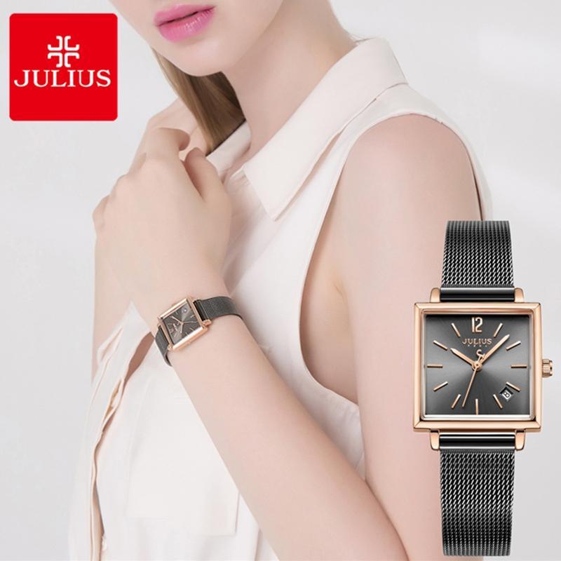 0a400023f82 Compre Júlio Das Mulheres De Malha De Aço Inoxidável Relógio De Quartzo  Quadrado Pulseira Senhoras Relógios Calendário Data De Exibição Vestido  Feminino ...