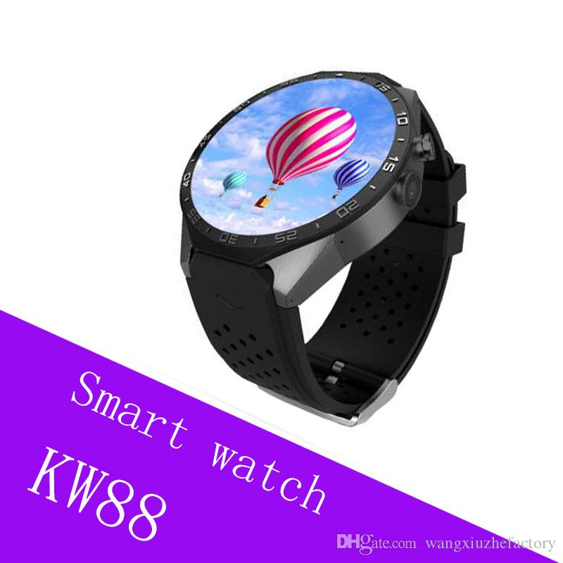 KW88 smart watch Android 5.1 OS MTK6580 2.0MP camera 3G WIFI GPS Heart Rate smartwatch for iphone Android smart phone
