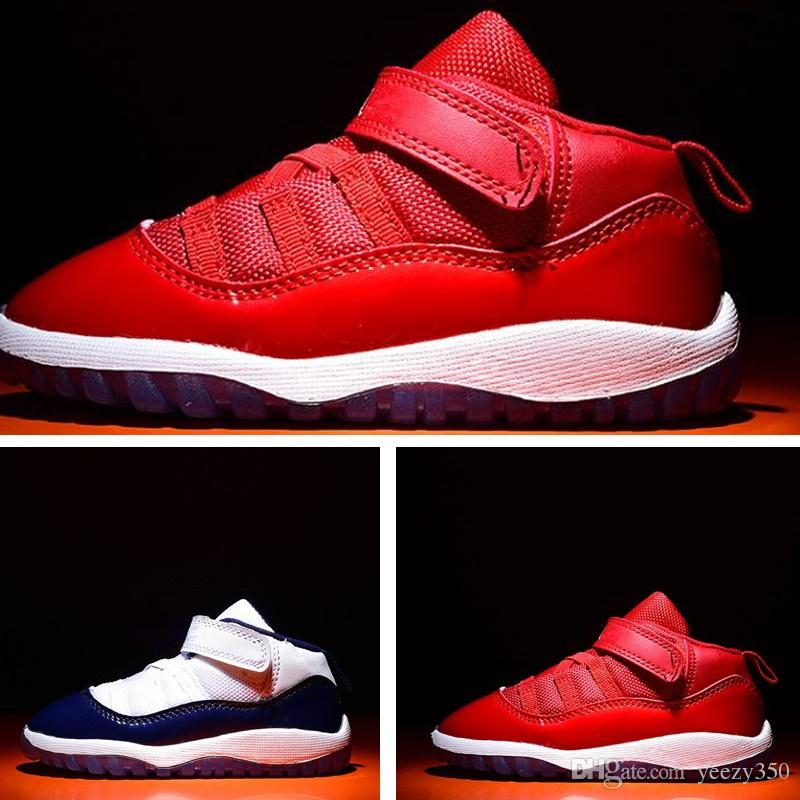 size 40 ad827 7492d Mildnight navy 11s Toddler shoes gym red Bred Kids Basketball Sneaker  Concord Gamm Blue Shoes New Born Baby Infant Size