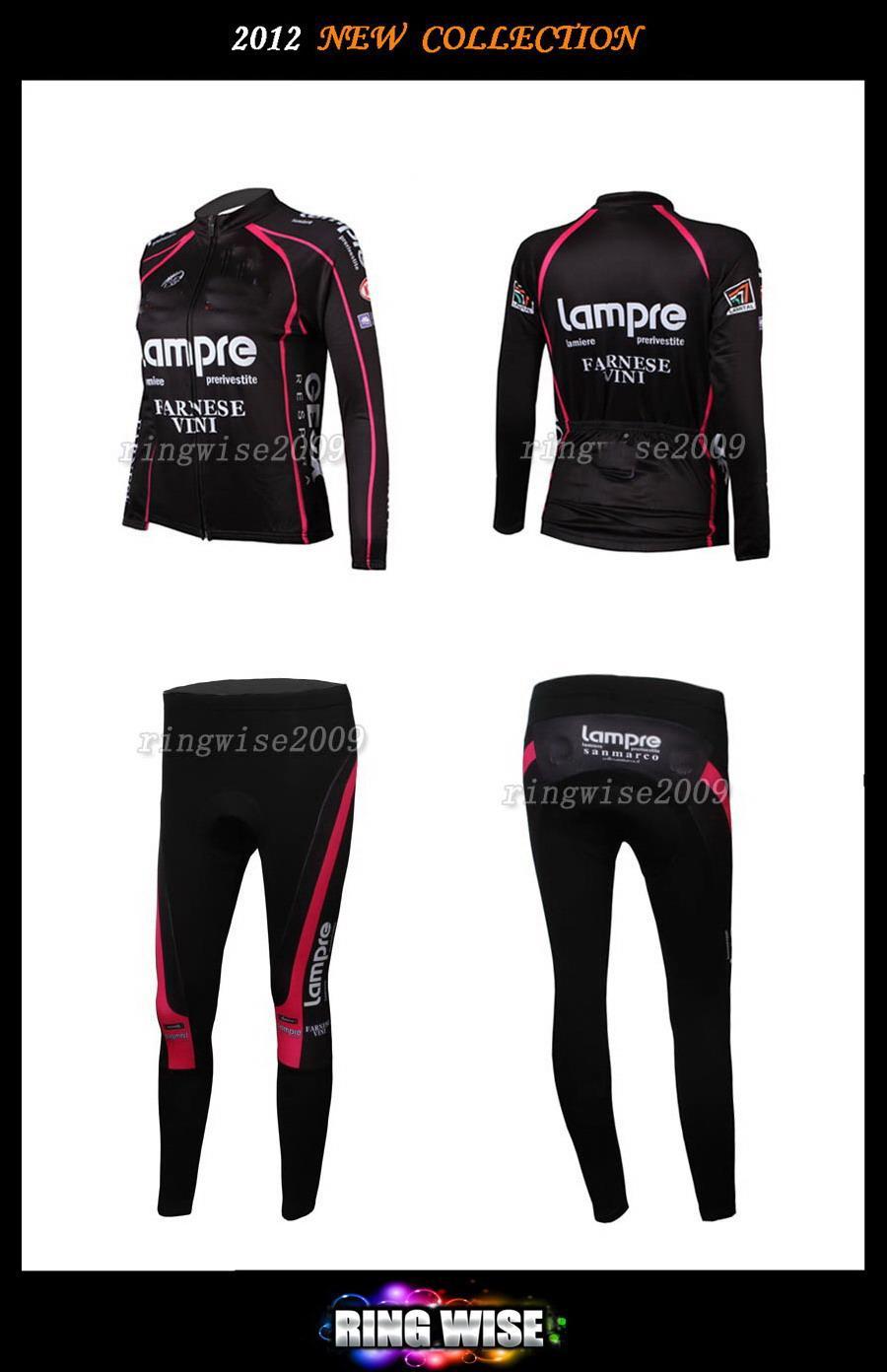 여자 겨울용 플라이 사이클 열 사이클 저지 저우 + 팬츠 2012 램프 팀 블랙 - 피크 사이즈 : XS-XXL