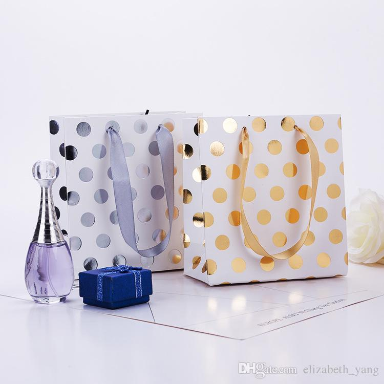 hot Gold and silver Polka dot paper bag & Festival gift package, Fashionable gift paper bag wholesale