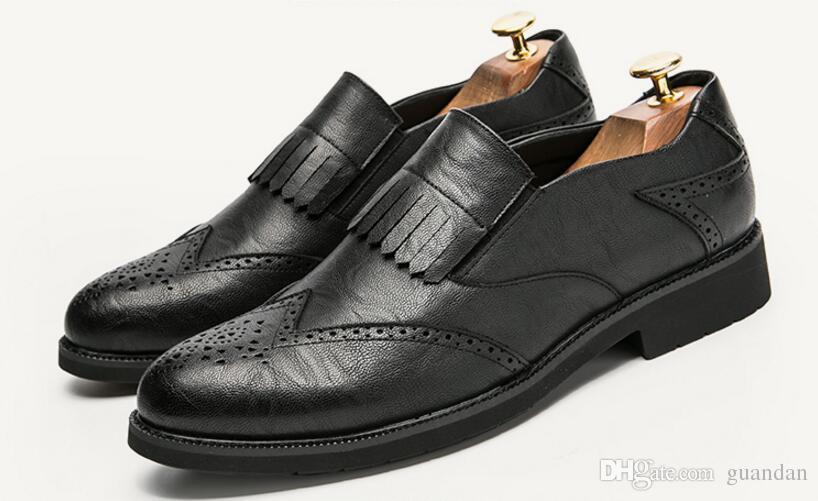 0e3ee606d56a Men Tassel Dress Leather Brogue Oxford Shoes For Men Luxury Brand 2018  Classical Italian Ballet Flats Male Footwear Elegant Shoe HX7 Summer Shoes  Womens ...