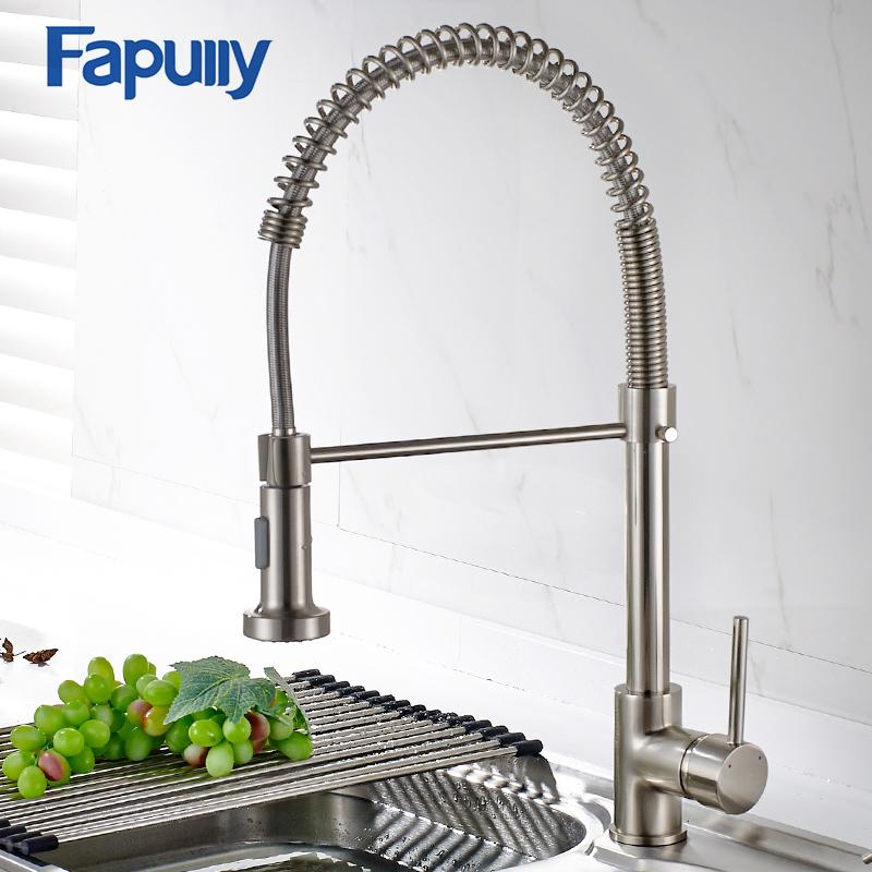 2019 Fapully Spring Brushed Nickel Kitchen Faucet Pull Out Water Tap