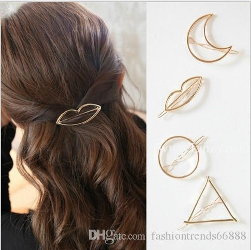 2017 Brand New European Trendy Vintage Circle Lip Moon Triangle Hair Pin Clip Hairpin BarrettesPretty Womens Girls Metal Jewelry Accessories