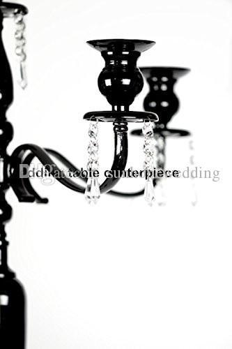 Großhandel 5 Arm schwarz groß Kristall Hochzeit candleabra Herzstück, antike Kristall Leuchter