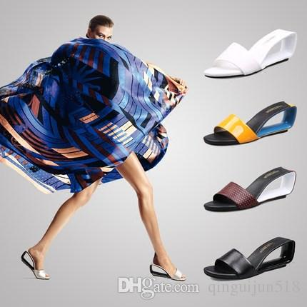 Summer 2018 open toe slope with cool women in Europe and America fight spell color semi-trailer with sandals
