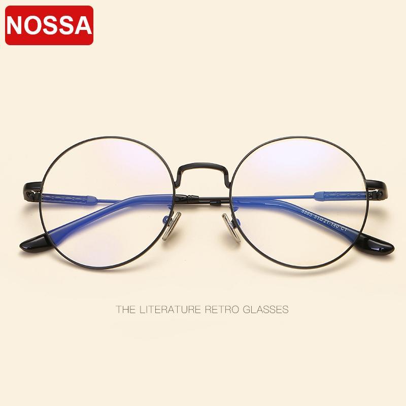 61295976668 2019 NOSSA New Retro Round Glasses Frame Korean Art Metal Round Flat Mirror  Boy And Girl Models Modified Face Fashion Glasses Frame.