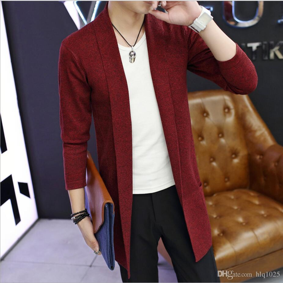 Hot Sale Spring and Autumn Casual Mid-Long Long Sleeve Knitted Cardigan Men's Solid Color Coat Slim Fit Outwear