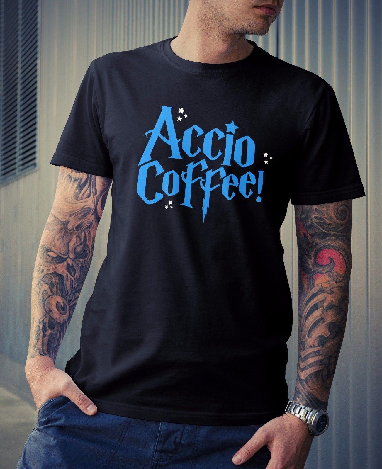 6733e3cf Mens Accio Coffee T Shirt Novelty Funny Joke Harry Potter Wizard Geek Nerd  Dad Cool Casual Pride T Shirt Men Unisex Fashion Tshirt Free On T Shirts It  Tee ...