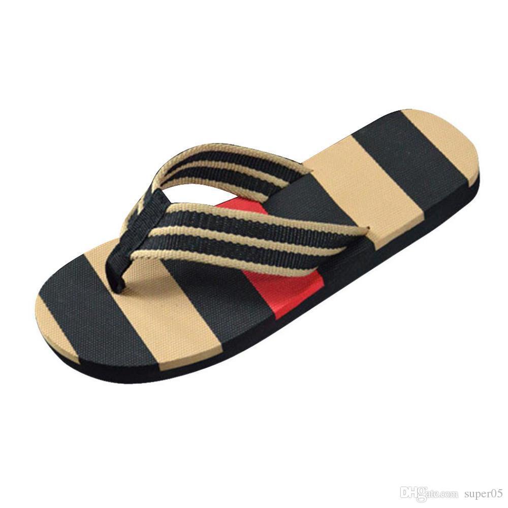 d1fbee93fdbfd High Quality Fashion Men Summer Outdoor Stripe Flip Flops Shoes ...