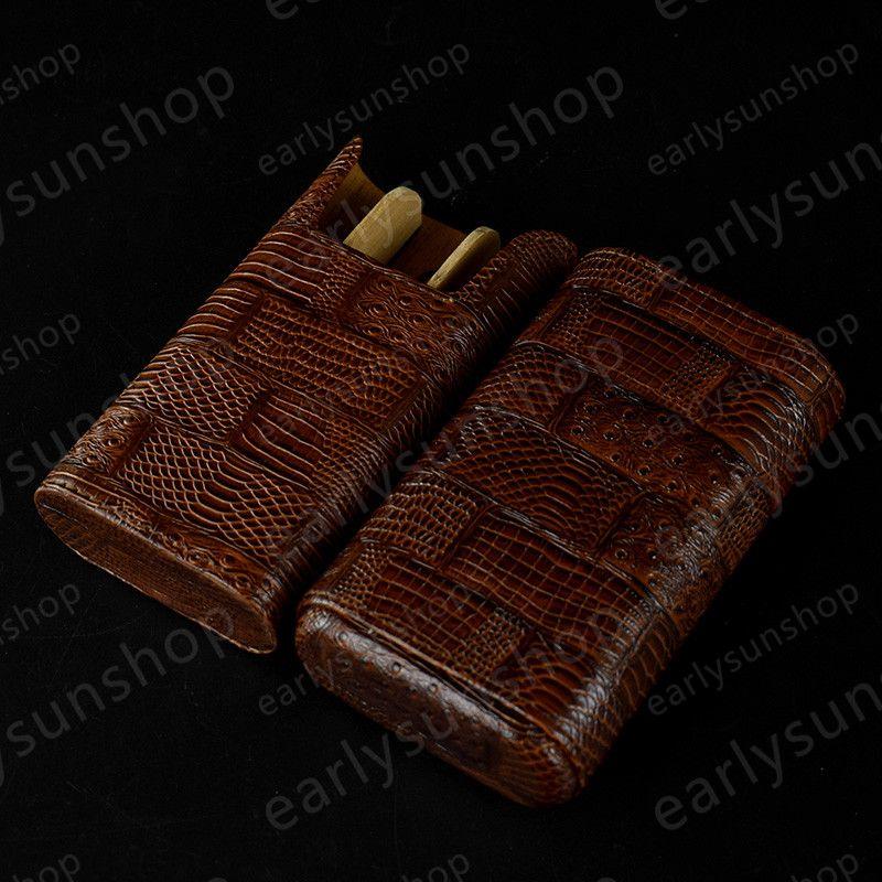 Nave libera Nuovi accessori il fumo Borsa da viaggio Humidor 2 Tube Portable Brown Crocodile Case Outdoor Cigar Humidor in pelle