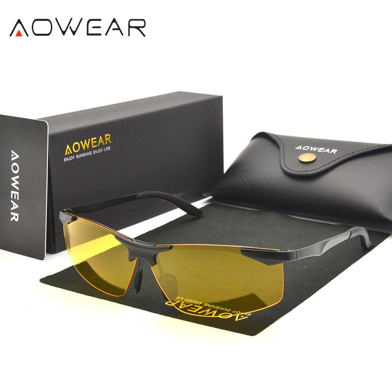 b66a25bc99 AOWEAR Mens Polarized Night Vision Goggles Glasses Men Car Driver Yellow  Sunglasses For Driving Oculos Lentes De Sol Mujer A55NV Sunglasses For Men  ...