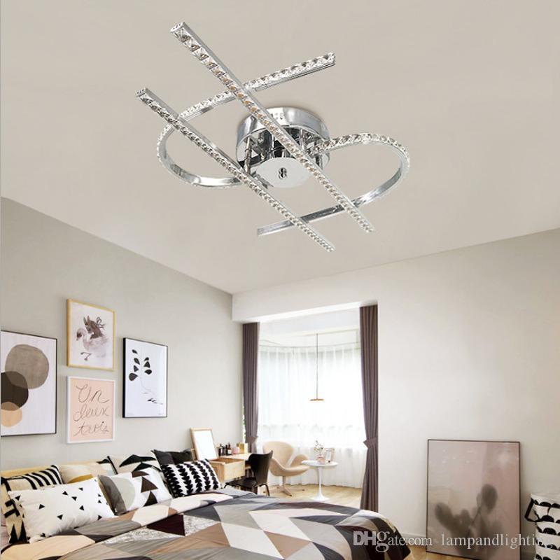 현대 알루미늄 K9 크리스탈 48W LED 천장 조명 플러시 마운트 천장 램프 plaons 다이닝 룸 침실 크리스털 광택