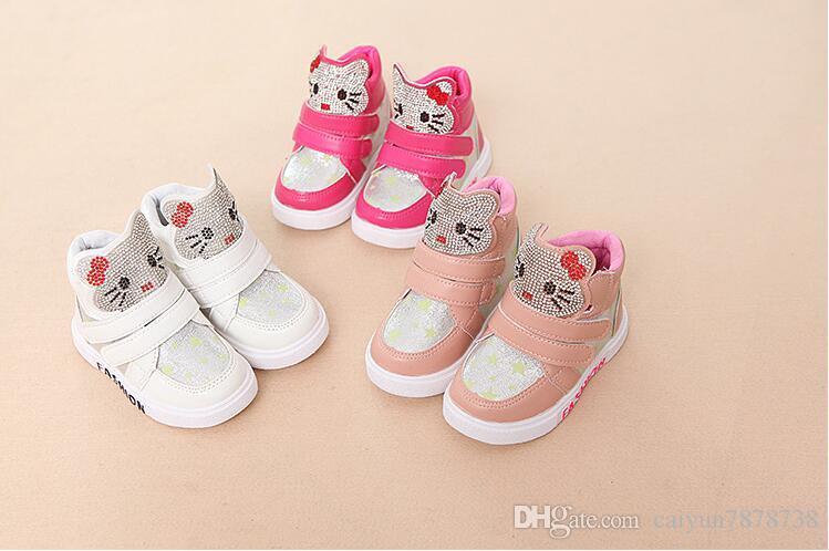a734ec23332017 Meninas sapatos primavera e no outono modelos 2018 calçados infantis 3-4-5  anos de idade menina bebê high-top calçados esportivos