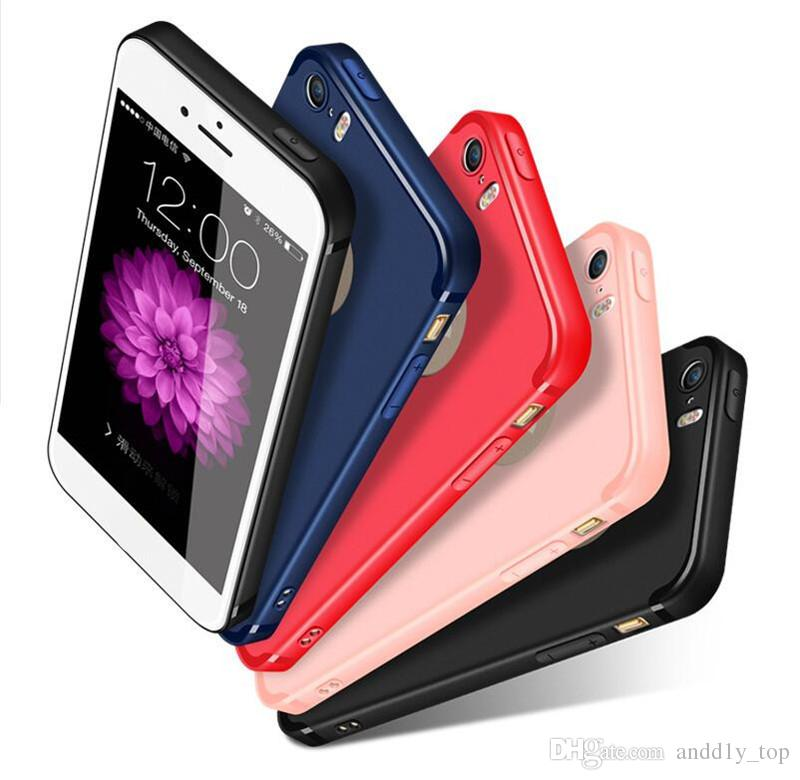 Silicone Case Magro macio TPU tampa do iPhone para 11 PRO Max XS 7 8 Plus Samsung Nota 10 S10 S9 doces colorem Matte Phone Cases Shell com Cap Poeira