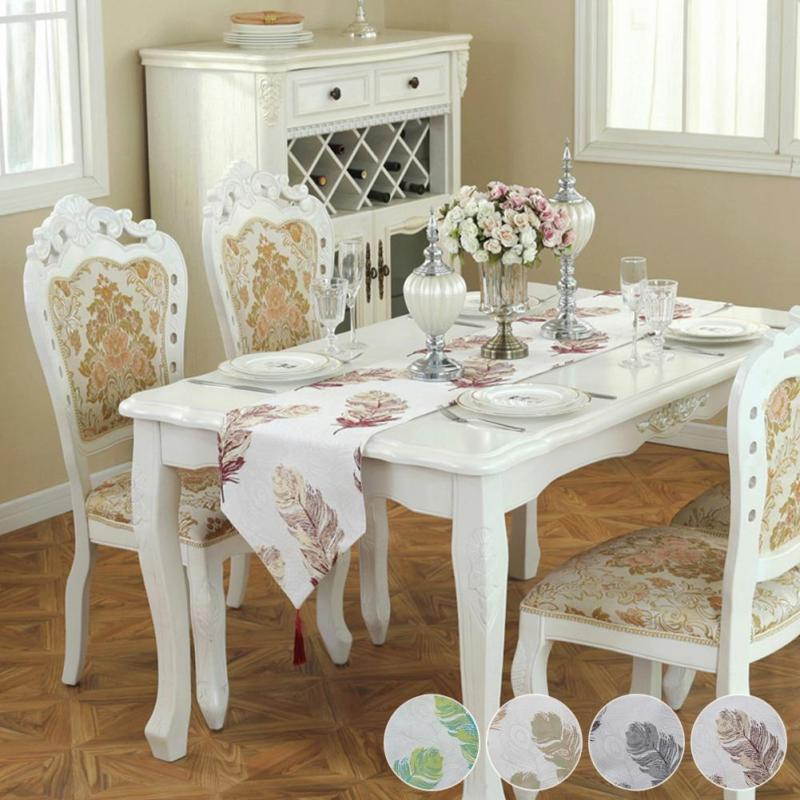 Modern White Dining Table Runner Restaurant Hotel Banquet Table Cloth  Decoration Pad Cloth Coffee Fabric Flag V3