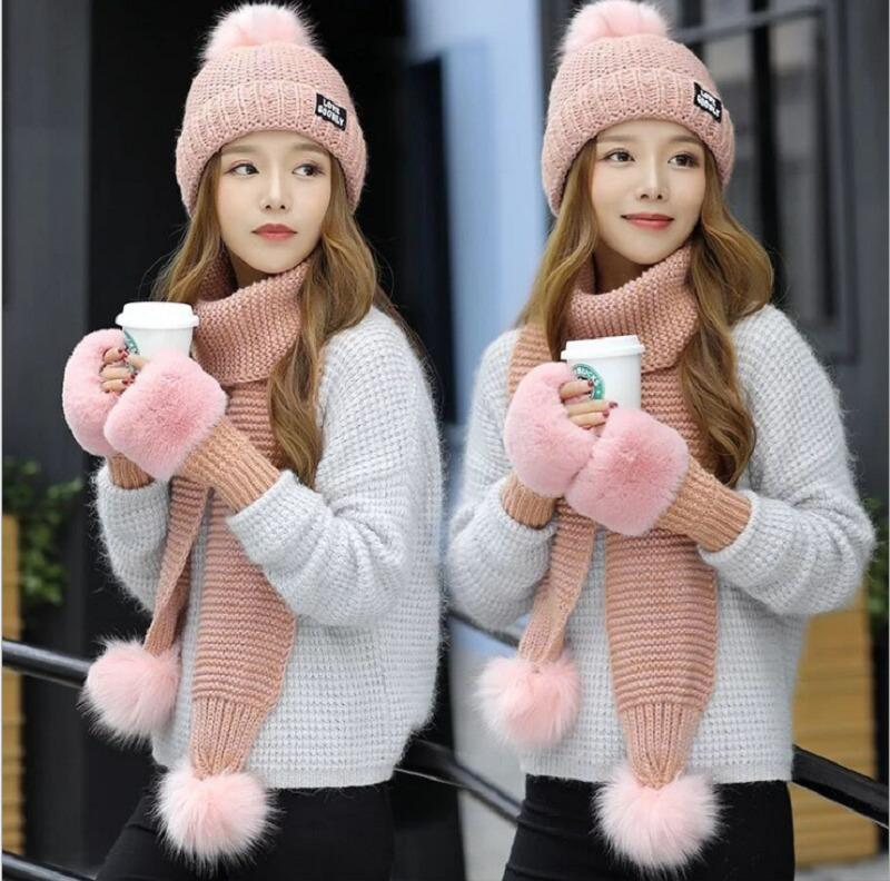Hat Scarf Gloves Sets Autumn Winter Women S Hat Caps Knitted Warm ... 2b71dd9dcc3a
